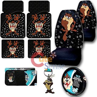Looney Tunes Taz Car Seat Covers Floor Mat Accessories Set 9pc  Bubble