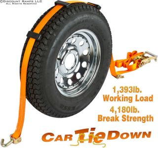 New Auto Car Wheel Tire Bonnet Ratchet Tie Down Strap WTD Rat Swivel