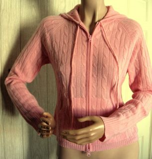 Autumn Cashmere Pink Cableknit Cashmere Hoodie Zip Front Cardigan