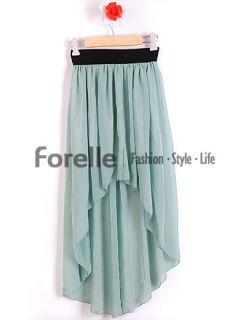 Sexy Asym Hem Chiffon Skirt Women Maxi Dress Skirt Elastic Waist