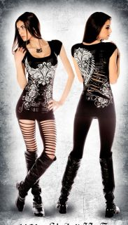 Folter Angel Wings Fleur de Lis Slash Back Top Shirt Black Punk Retro