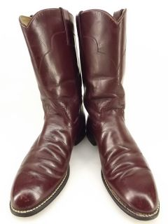 Womens cowboy boots burgundy leather Tony Lama 6 B western roper