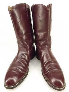 Womens cowboy boots burgundy leather Tony Lama 6 B western roper
