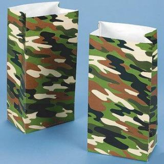12 Camo ARMY Treat BAGS Dozen Party Favors Goody Military NIP