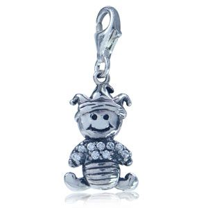 adorable cz 925 sterling silver baby dangle charm