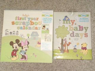 DISNEY My Baby Days 5 Year MEMORY BOOK & First Year Scrapbook CALENDAR