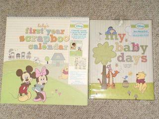 DISNEY My Baby Days 5 Year MEMORY BOOK & Firs Year Scrapbook CALENDAR