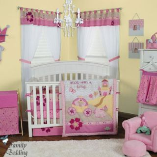 Crown Baby Girl Crib Nursery Blanket Infant Bedding Bed Set