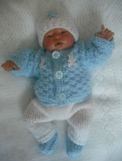 Hand Knitted Set to Fit 10 Reborn Baby Boy Doll
