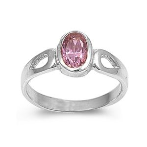 Sterling Silver Ring Size 1 CZ Pink Oval Baby Girl Pinky or Toe Womens