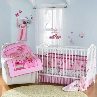 Baby Girl Butterfly Nursery Cheap Garden 4pc Crib Bedding Set