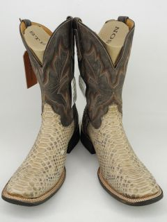 cowboy boots tan distressed python snake skin Stetson Horseman 9 5 EE
