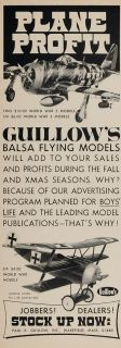 1970 Ad Guillows Balsa Wood Model Toy Airplane WWII   ORIGINAL