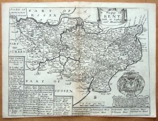 Kent Richard Blome T Bakewell Original Antique Map C1735