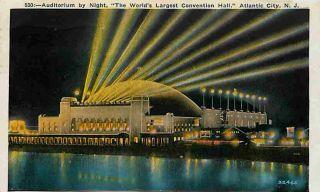 Atlantic City New Jersey NJ 1930 Convention Hall Night Lights Vintage
