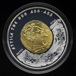 Kazakhstan Attila the Hun 100 Tenge Silver Coin 2009 Proof Gold COTY