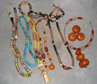 Large Lot African Trade Beads Venetian Millefiori Large Copal Amber