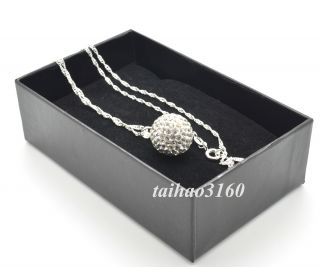 Crystal Shamballa Ball Earring 14mm Pendant Silver Necklace Gift Case