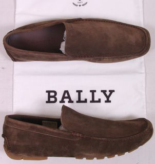 Bally Shoes $395 Taupe Brown Logo Vamp Suede Calfskin Drivers 11 44E