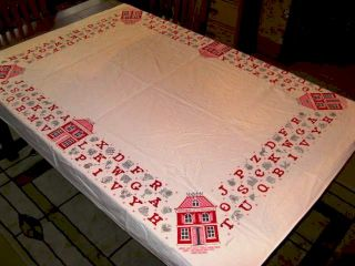 50s Startex Pink Red School House Tablecloth Alphabet Hall Byther