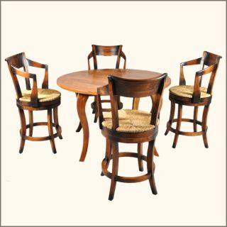 Sierra 5 Pc Dining Room Table Revolving Bar Chairs Set Furniture