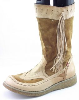 BC FOOTWEAR Brown Suede Leather Tassel Fashion Mid Calf Boots Women