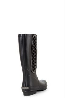 BCBG Max Azria Vintage Womens Hot Black Rubber Matte Rain Boots