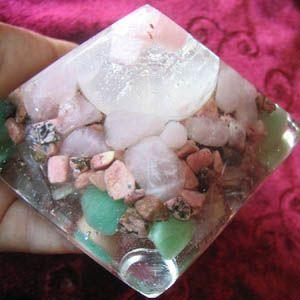 Selenite Sphere Pink Tourmaline Rose Quartz Copper Tachyon Resin