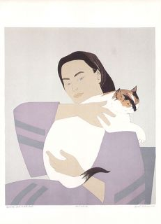 Will Barnet Print Woman and White Cat