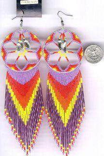Navajo Beaded Dangle Earrings 62 Native American Jewelry