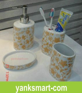 Wonderful 4 Piece Ceramic Bathroom Accessories Set Vanity Dispenser YC