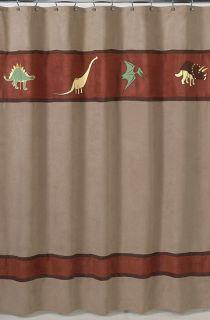 JoJo Designs Dinosaur Dino Suede Kids Fabric Shower Curtain