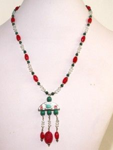 Vintage Barse 925 Sterling Silver Turquoise Onyx Jade Chandelier