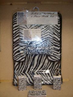19pcs Bath Accessory Set Lovely White Zebra Print Bathroom Rugs Shower