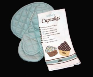 Pc PAULA DEEN Cupcakes Recipe *Kitchen Towel*Oven Mitt*Pot Holder