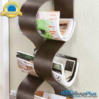 unique wall mount magazine towel rack bath office metal curves