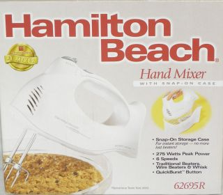 Hamilton Beach Hand Mixer Beater with Snap On Case 62695R New In Box