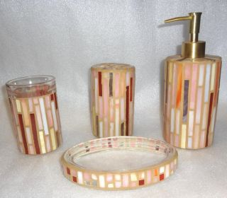 Mosaic Bath Set Soap Lotion Pump Soapdish Dish Toothbrush Tumbler