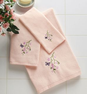 Floral Butterfly Pink Bath Hand Towel Set Washcloth Decor