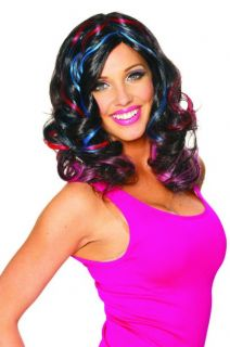Katy Perry California Girls Gurls Costume Wig with Streaks Blue Red