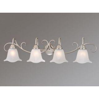 NEW 4 Light Bathroom Vanity Lighting Fixture, Brushed Nickel, White