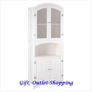 Wood Bathroom Linen Storage Cabinet White Glass Doors