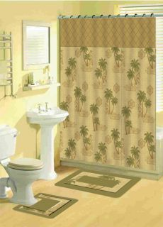 Tropical Floral Bathroom Shower Curtain w Hooks 15 Pcs Bath Mat