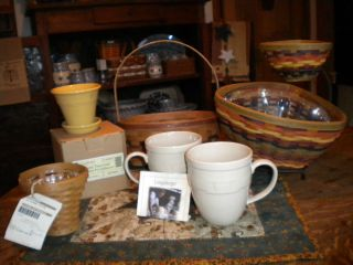 LONGABERGER ASSORTED BASKETS & POTTERY LOT MANY NEW IN BOX OR