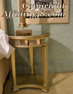 Antique Mirrored Round Library End Table 8311 220 Bassett Mirror Co