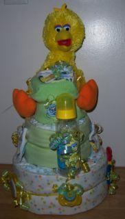 Baby Shower 3 Tier Sesame Street Diaper Cake Elmo Big Bird Cookie