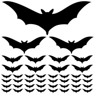 43 Halloween Bats in 4 Sizes Wall Car Decal Stickers