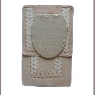 Beige 3 Piece Bathroom Rug Mat Set Bath Mat Contour Rug Toilet Seat