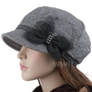 Chic Bow Decor Apple Cap Newsboy Hat Baker Boy Gray NE6737G