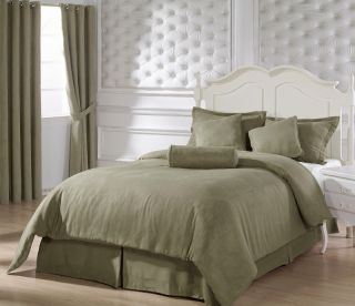 Green Microsuede Comforter Bed in A Bag Set King Size Bedding